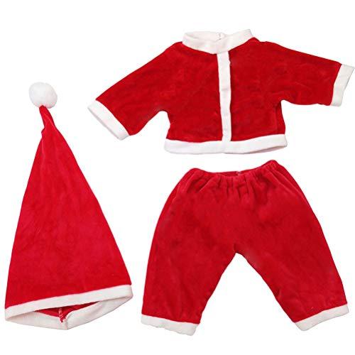 YeahiBaby 3 Teile / Satz Junge Mädchen Baby Weihnachtsmann Kostüm Set mit Weihnachtsmütze Weihnachten Neugeborene Jumpsuit Puppen Strampler (Rot)
