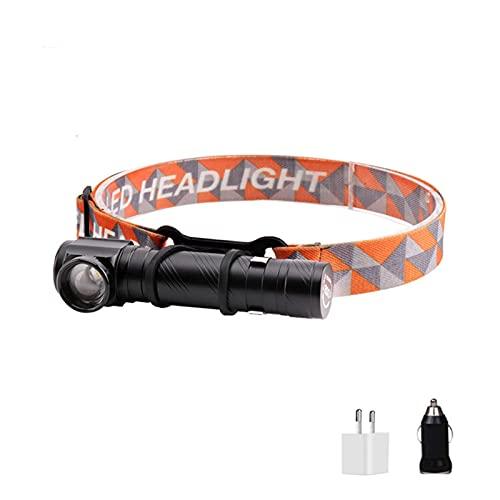 Linterna de cabeza potente frente USB 1000LM linterna cabeza faro LED zoom cabeza linterna linterna imán linterna cabeza cabeza linterna (Color del cuerpo: negro, color emisor: blanco cálido)