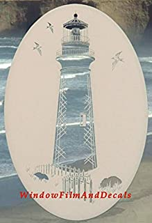 Lighthouse Oval Etched Window Decal Vinyl Glass Cling - 21