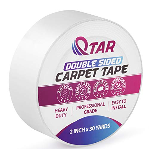 Double Sided Carpet Tape Heavy Duty for Wood Floors, 2 Inch X 30 Yards Rug Tape for Area Rugs Over Carpet on Hardwood, Anti Skid Stick Tape for Mat, Vinyl, Pad, Tiles, Runners, Stair Treads