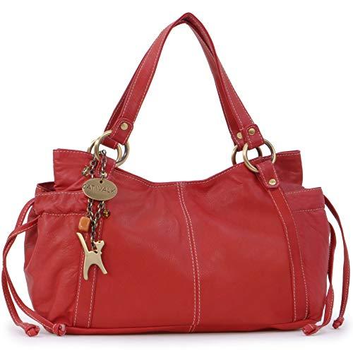 Catwalk Collection Handbags - Vera Pelle - Borsa a Spalla/Borse a Mano - Con Ciondolo a Forma di Gatto - Mia - ROSSO