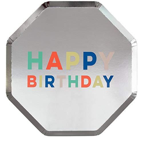 Meri Meri - Platos de papel para fiestas y celebraciones, tamaño grande de 25 x 10,25 pulgadas, paquete de 8 unidades