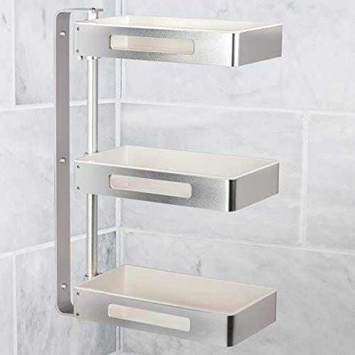 ONVAYA® Estantería giratoria con 3 niveles, ideal como estantería de cocina, estantería de especias o estantería de baño, sin agujeros, estantería esquinera para cocina y baño