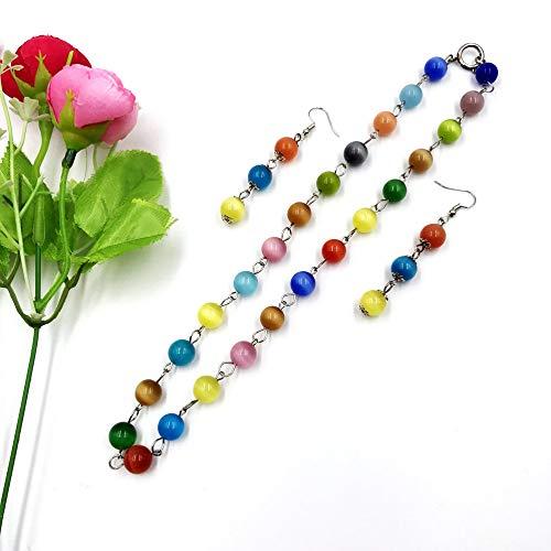 skyllc Hombres Mujeres 10mm Cuentas Coloridas Cuentas Redondas Collar de Cristal Opal + Pendientes