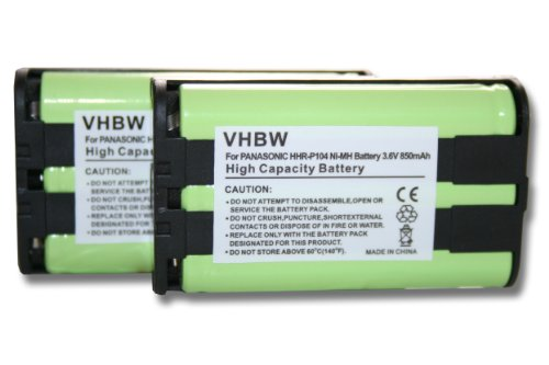 vhbw 2X NI-MH Akku Set 850mAh (3.6V) passend für schnurlos Festnetz Handy Panasonic KX-TW201, KX-TW211