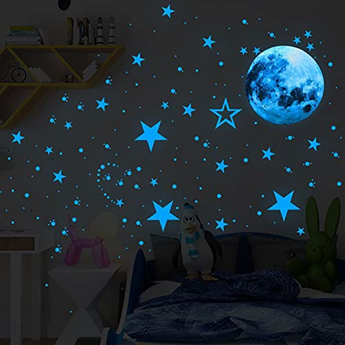 Luminoso Pegatinas Pared Decoración Luna Estrellas Adhesivos Decorativo, Pegatinas Fluorescentes para Paredes, Puertas, Armarios y Azulejos (azul, 30 cm)