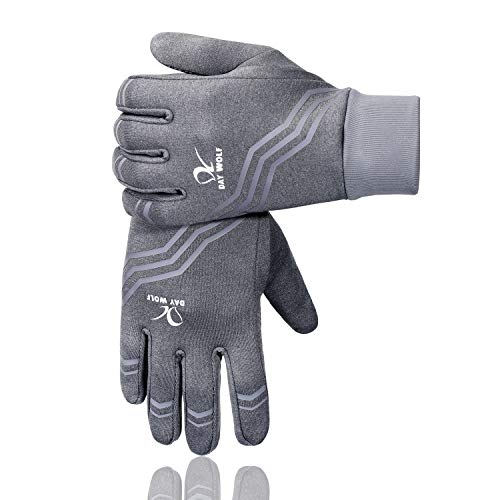 day wolf Running Gloves Liners Touch Screen Running Exercise Gym Workout Warm Mittens Women Men Touch Screen Cycling Breathable for Winter Summer Driving Camping Hiking Driving (Grey Stripe, M)