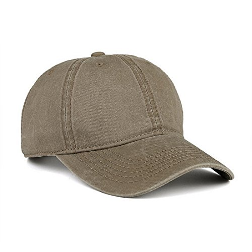 VANCIC Low Profile Washed Brushed Twill Cotton Adjustable Baseball Cap Dad Hat for Men Women (Light Khaki)