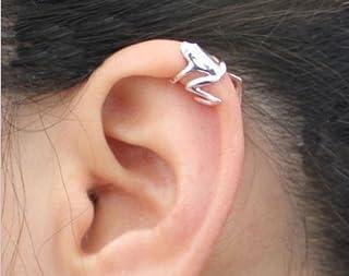 Ndier 1 x Unisex Frog Design aleación Ear Cuff Clip Wrap Pendientes bisutería (Plata)