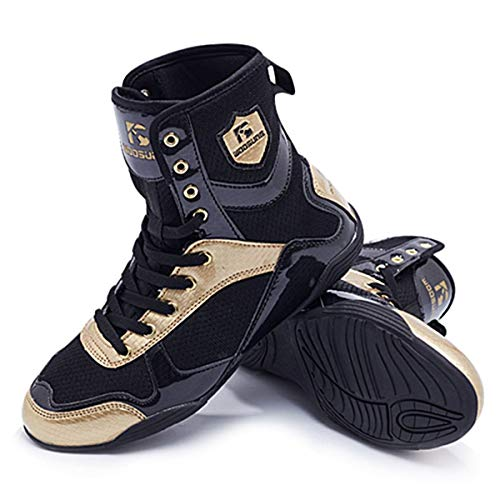 HO BEAR Men's Boxing Wrestling Shoes High-top Combat Speed Boxing Boots Non-Slip Rubber Sole
