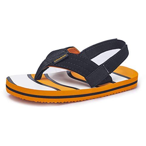 KRABOR Boys Flip Flops Sandals with Back Strap for Toddler Orange Fish Size 7/8