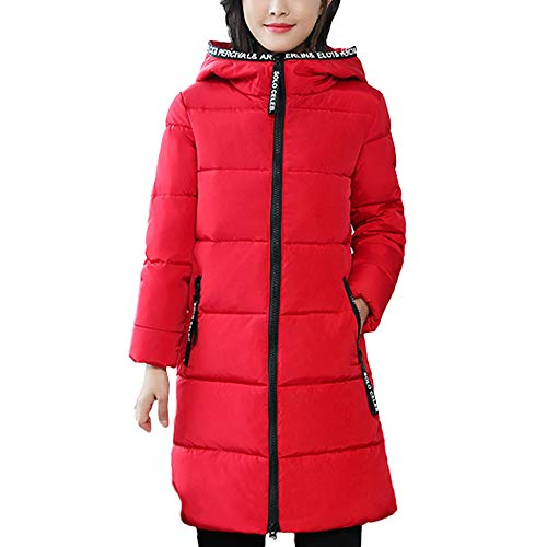 OutTop Winter Quilted Coats for Women Warm Fur Hooded Fleece Lined Zip Up Thicken Down Anorak Jacket Parka Outwear (Red, XXL)