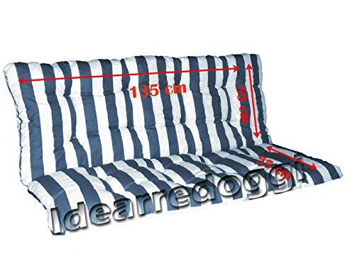 Cuscino per dondolo truciolo 3 Posti 135 Cm Bianco/Blu