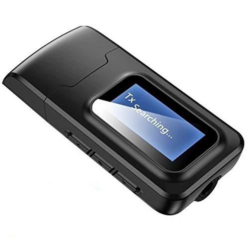 fire bird Esponja, Cuero, Funda Protectora 2 en 1 Receptor del transmisor Bluetooth 5.0 USB Adaptador de Disco Libre de Audio inalámbrico con Pantalla LCD
