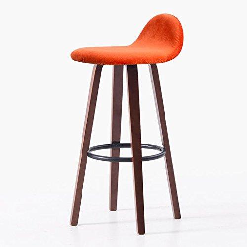Rollsnownow Tabouret de bar à la maison en bois brun de cadre de chaise de barre de cadre de Brown de coussin de couleur orange