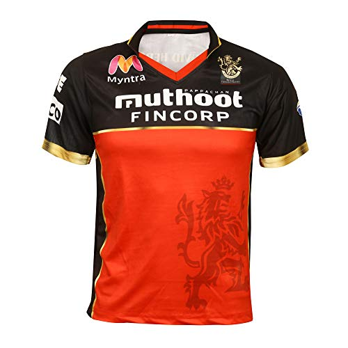 KD IPL Cricket Jersey RCB Team Supporter T-Shirt 20-21 Half & Full Sleeve Royal Challengers Bangalore Uniform - Half Sleeve Custom 44