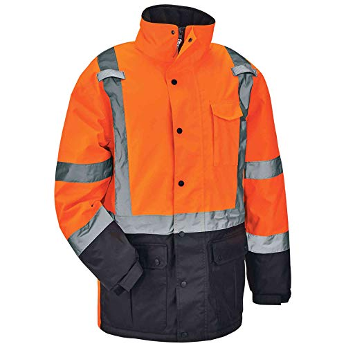 High Visibility Reflective Winter Safety Jacket, Insulated Parka, ANSI Compliant, Ergodyne GloWear 8384, XX-Large, Orange