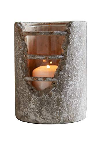 Windlicht Beton mit Glaseinsatz 16 cm hoch, Betondekor Deko Teelicht, Teelichthalter