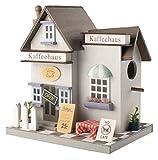 Gardigo Vogelhaus Kaffeehaus I Dekoratives Vogelhäuschen aus FSC Holz I Für Garten, Terrasse oder Balkon I Nistkasten zum aufhängen, für Kleinvögel
