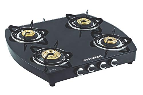 SUNSHINE Glass Top Alfa Oval MS 4 Burner Gas Stove Manual...
