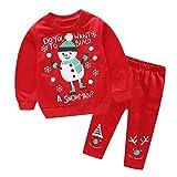 Ensemble de vêtements bébé, YUYOUG 2PC Bébé Fille garçon père Noël Noël Bonhomme de Neige Cerfs Tops + Pantalons Outfits Set (1.5-2 Ans, Red 1)