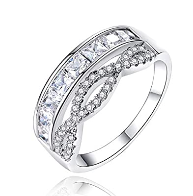 Uloveido Silver Tone Cubic Zirconia Channel Set Polished Eternity Band Ring Inifinity Rings Wedding Jewelry for Women Girls Y937 (Platinum, 6)