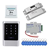 HFeng Sistema de Control de Acceso de Puerta IP68 125 KHz, Impermeable, Controlador de Acceso RFID, Fuente de alimentación de 12 VDC + Cerradura de Perno de caída eléctrica