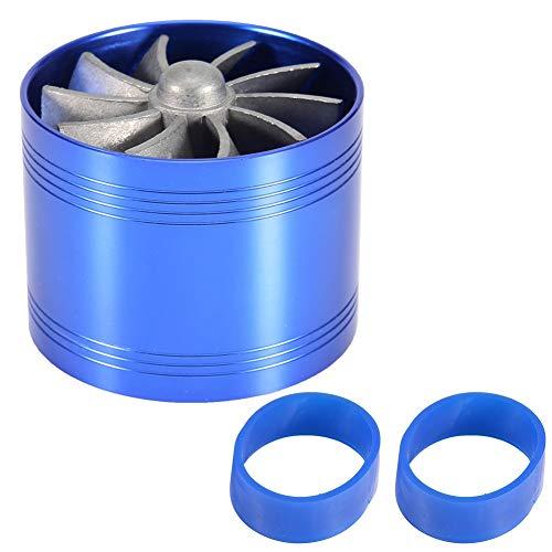 Turbo de admisión de aire Qiilu Turbina de admisión de aire Supercargador Ahorro de combustible de gas Turbo con 3 x Soporte de goma (Azul)