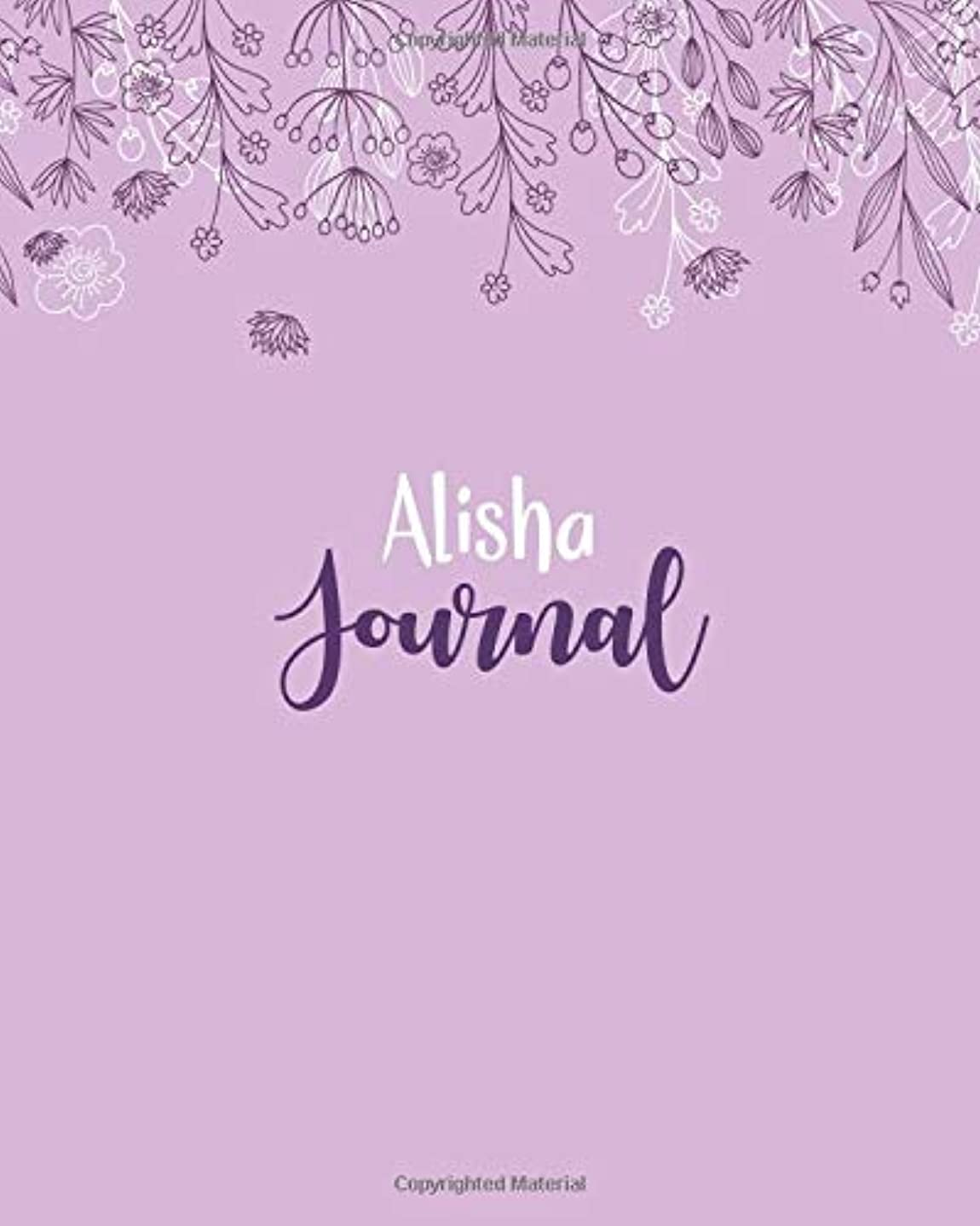 話す昼寝付与Alisha Journal: 100 Lined Sheet 8x10 inches for Write, Record, Lecture, Memo, Diary, Sketching and Initial name on Matte Flower Cover , Alisha Journal
