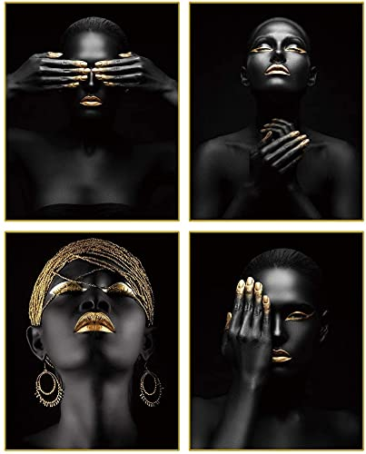 SXXRZA Impresión en Lienzo 4 Piezas 40x60cm Sin Marco Afroamericano Mujer Negra Moda Pop Oro Pendientes Collar Negro Chica Bonita Habitación Póster Habitación para decoración del hogar