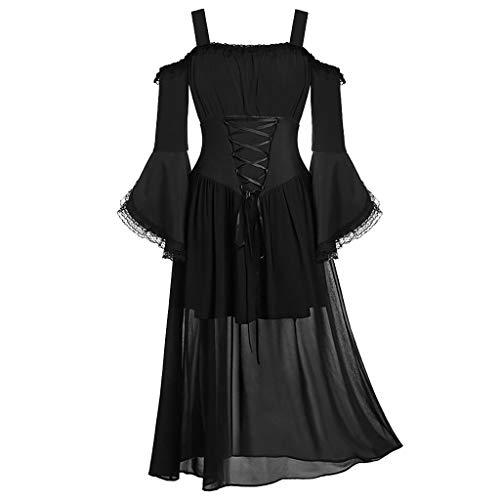 Xmiral Jacke Damen Spitze Spleiß Unregelmäßiger Saum Schnürung Bluse Retro Mantel Kleid 1950s Mittelalter Rollenspiel Tops Große Größe(G Schwarz,XXL)