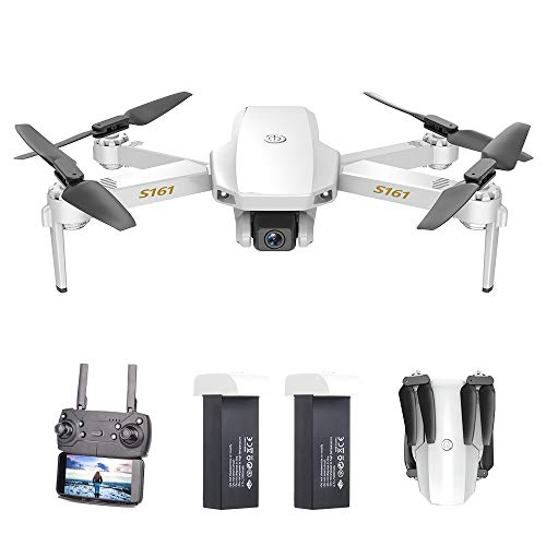 GoolRC Mini Pro Drone with Camera S161,Foldable FPV Drone with 4K HD Camera, Optical Flow Positioning RC Quadcopter with Gesture Photos/Video, Altitude Hold, Track Flight, Storage Bag and 2 Batteries