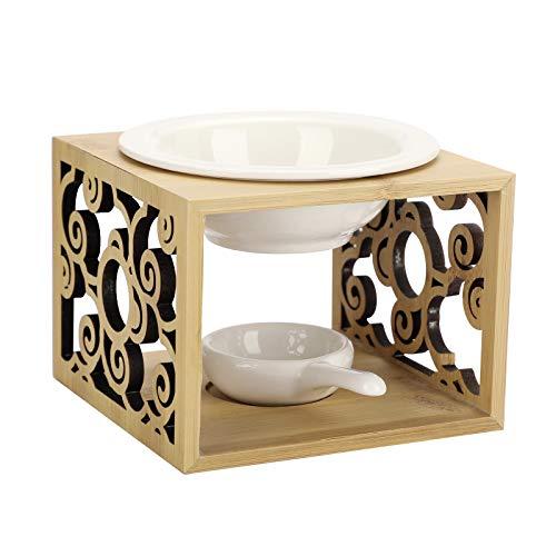 BSTKEY Quemador de aceite de cerámica de bambú Quemador de cera desprendible diseño con cuchara de vela, difusor de aroma para decoración del hogar ahuecado