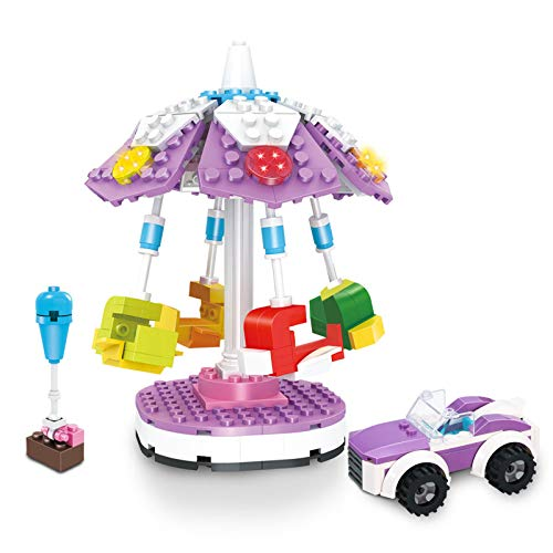BRICK STORY Girls Friends Amusement Park Carousel Building Kit with 2 Mini People and an Open Car Building Bricks Set for Girls Aged 6-12 and Up,266 Pcs