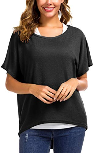 Meyison Damen Lose Asymmetrisch Sweatshirt Pullover Bluse Oberteile Oversized Tops T-Shirt Schwarz-S