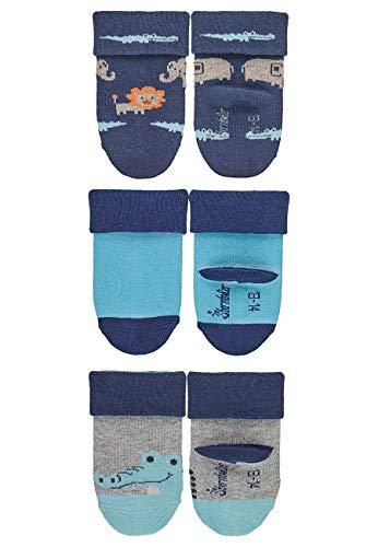 Sterntaler Jungen Baby-Söckchen, Zootiere, 3er-Pack, Alter: 6-12 Monate, Größe: 17/18, Blau