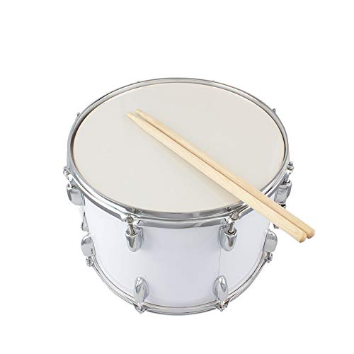 14 x10 inches Marching Drum, Drumsticks, Key, Strap White - Premium Quality Musical Instrument for Students Professionals