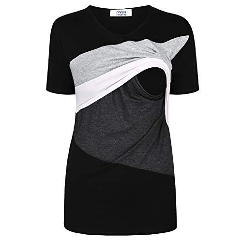 HAPPY MAMA. Damen Mutterschaft Hemd Farbe Blockiert Rundhalsausschnitt. 235p (Puderrosa & Grau...