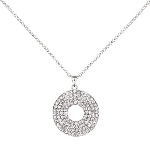 non-brand Collar Colgante de Disco Redondo, Material de Aleación de Bronce con Adornos de Diamantes Artificiales - # 3