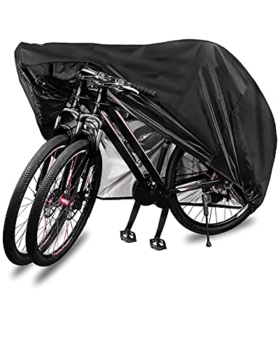 Bike Cover for 2 Bikes, 210D Premium Polyester Waterproof Bicycle Cover with Lock Holes & Storage Bag,Bike Covers for Outside Storage Anti Dust Rain Snow UV,Suitable for Mountain, Road,Duty Bikes