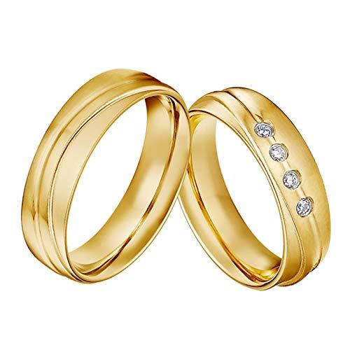 TLBB 1 par de Aros de Boda de Matrimonio Chapado en Oro de 18 quilados para Parejas Anillo de Dedo de la joyería de Acero Inoxidable (Gem Color : CMR3084FY, Metal Color : Women Size 8)