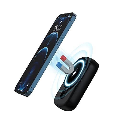 MOXNICE Magnetic Wireless Power Bank 10000mAh Tragbares Ladegerät, 18W PD 3.0 USB C Akku für iPhone 12/13 Pro/Max/Mini und mehr (Black)