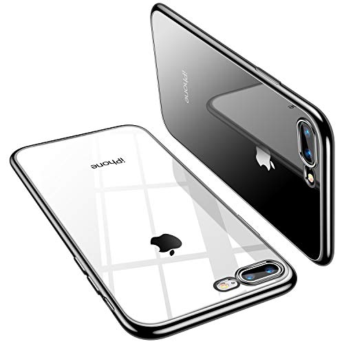 TORRAS Crystal Clear Compatible for iPhone 8 Plus Case/iPhone 7 Plus Case 5.5 inch, Transparent [10X Non-Yellowing] Shockproof Rubber Slim Thin [Faith Series] Soft Phone Cover Case, Black