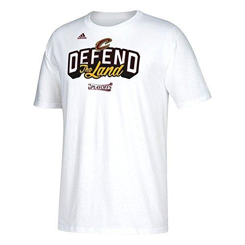 adidas Cleveland Cavaliers 2017difendere la Terra NBA Playoff Tee, Uomo, White
