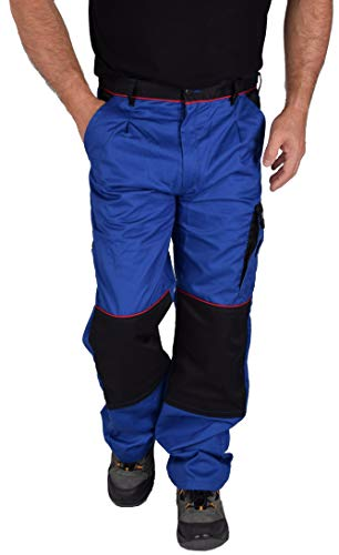 Iwea Stabile Arbeitshose Bundhose Berufshose Handwerker Cargohose Arbeitskleidung IW063 (58, Blau)