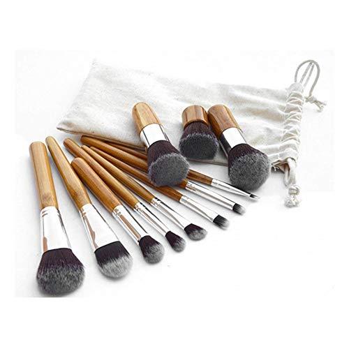 Brosse de maquillage Set 11pcs Pinceau De Maquillage - Des pinceaux En Bambou, Des pinceaux Super Doux, Kit D'outils Pour La Poudre Pour Le Visage, Correcteur, Fard À Paupières, Contour, Contour Des Y