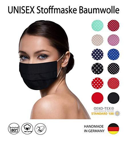 einfarbig SCHWARZE Facies unisex wiederverwendbar 60 Grad waschbar aus Baumwolle Stoff Facies hergestellt in Berlin sofort lieferbar