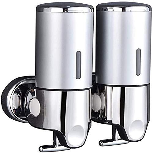 Balsamo Shampoo a Parete con Doppio Dispenser di Sapone, Pompa di Sapone per lozione Gel Doccia per Bagno o Cucina (Argento)