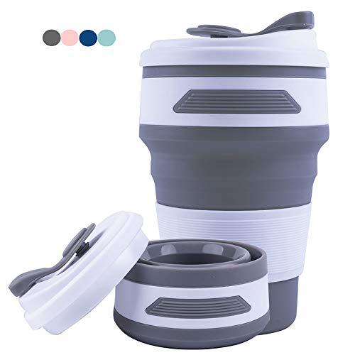 Widamin Wiederverwendbare Faltbare Kaffee Ttasse, Tragbare Kaffeetasse, Reisebecher, Zusammenklappbare Silikon Becher, 350ML (Grau)