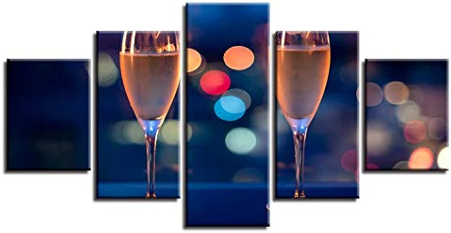 LONLLHB Painting Canvas Hd Prints Pictures Home Decor Wall Art Frame 5 Pieces Champagne Glass Painting Modular Living Room Celebrate Poster